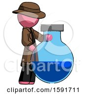Pink Detective Man Standing Beside Large Round Flask Or Beaker