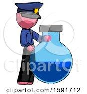 Pink Police Man Standing Beside Large Round Flask Or Beaker