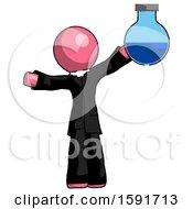 Pink Clergy Man Holding Large Round Flask Or Beaker