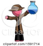 Pink Detective Man Holding Large Round Flask Or Beaker