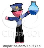 Pink Police Man Holding Large Round Flask Or Beaker