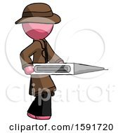 Pink Detective Man Walking With Large Thermometer