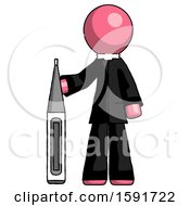 Pink Clergy Man Standing With Large Thermometer