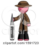 Pink Detective Man Standing With Large Thermometer