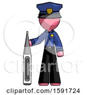 Pink Police Man Standing With Large Thermometer