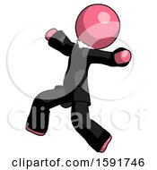 Pink Clergy Man Running Away In Hysterical Panic Direction Left