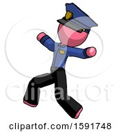 Pink Police Man Running Away In Hysterical Panic Direction Left
