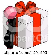 Pink Clergy Man Leaning On Gift With Red Bow Angle View