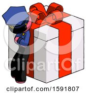 Pink Police Man Leaning On Gift With Red Bow Angle View