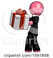 Pink Clergy Man Presenting A Present With Large Red Bow On It