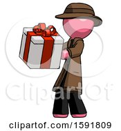 Pink Detective Man Presenting A Present With Large Red Bow On It