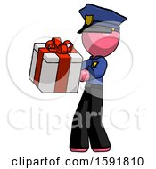 Pink Police Man Presenting A Present With Large Red Bow On It