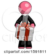 Pink Clergy Man Gifting Present With Large Bow Front View