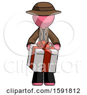 Pink Detective Man Gifting Present With Large Bow Front View