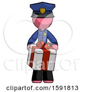 Pink Police Man Gifting Present With Large Bow Front View