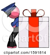 Pink Police Man Gift Concept Leaning Against Large Present