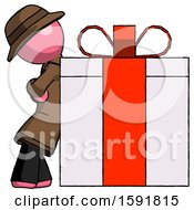 Pink Detective Man Gift Concept Leaning Against Large Present