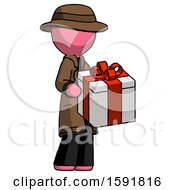 Pink Detective Man Giving A Present