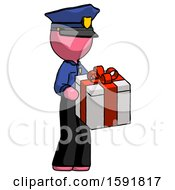 Pink Police Man Giving A Present