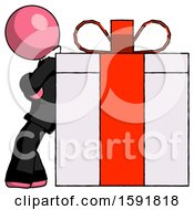 Pink Clergy Man Gift Concept Leaning Against Large Present