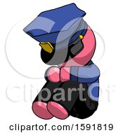 Pink Police Man Sitting With Head Down Facing Angle Left