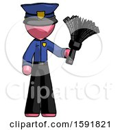 Pink Police Man Holding Feather Duster Facing Forward