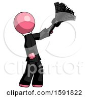 Pink Clergy Man Dusting With Feather Duster Upwards