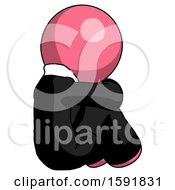 Pink Clergy Man Sitting With Head Down Back View Facing Right