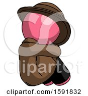 Pink Detective Man Sitting With Head Down Back View Facing Right