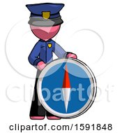 Pink Police Man Standing Beside Large Compass
