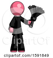 Pink Clergy Man Holding Feather Duster Facing Forward