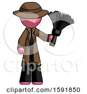 Pink Detective Man Holding Feather Duster Facing Forward