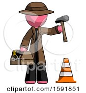 Pink Detective Man Under Construction Concept Traffic Cone And Tools