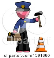 Pink Police Man Under Construction Concept Traffic Cone And Tools