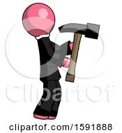 Pink Clergy Man Hammering Something On The Right