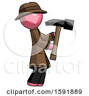 Pink Detective Man Hammering Something On The Right