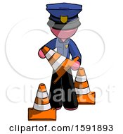 Pink Police Man Holding A Traffic Cone