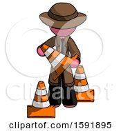 Pink Detective Man Holding A Traffic Cone
