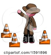 Pink Detective Man Standing By Traffic Cones Waving