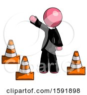 Pink Clergy Man Standing By Traffic Cones Waving