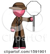 Pink Detective Man Holding Stop Sign