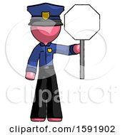 Pink Police Man Holding Stop Sign