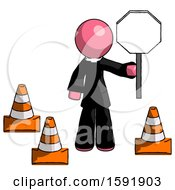 Pink Clergy Man Holding Stop Sign By Traffic Cones Under Construction Concept