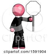 Pink Clergy Man Holding Stop Sign