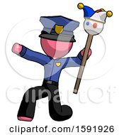 Pink Police Man Holding Jester Staff Posing Charismatically