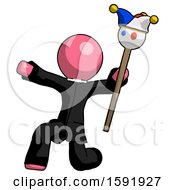 Pink Clergy Man Holding Jester Staff Posing Charismatically