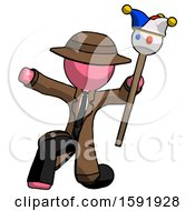 Pink Detective Man Holding Jester Staff Posing Charismatically
