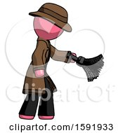 Pink Detective Man Dusting With Feather Duster Downwards