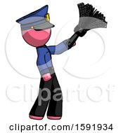 Pink Police Man Dusting With Feather Duster Upwards