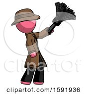 Pink Detective Man Dusting With Feather Duster Upwards